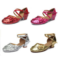 Ballroom tango latin dance shoes children girls women kids Low heeled 17-25.5CM