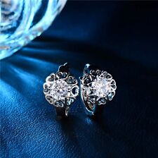 18K REAL WHITE GOLD PLATED HEART MADE WITH SWAROVSKI CRYSTALS HOOP EARRINGS WGH1