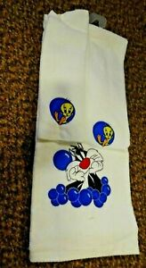 Looney Tunes Tweety & Sylvester Towel Set White & Blue Towel/Washcloth New