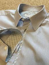 Splendido Nigel Hall Blu A Righe A pois dettaglio WEEKEND camicia m Medium costo £ 90