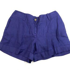 Ann Taylor Loft Womens Mini Cuff Shorts Size 2 Blue 100% Linen NWT