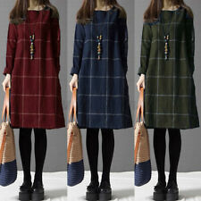 US STOCK Womens Vintage Check Plaid Long Sleeve Loose Casual Jumper Dress Plus