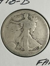 1918-D Walking Liberty Half Dollar in about Fair to AG Condition