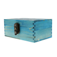 Vintage Style Blue Wooden Jewellery Box with Metal Lock & Key Trinket Chest