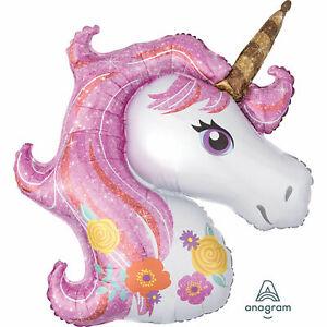 UNICORN XL Jumbo 46X35 Pink and GOLD NEWEST DESIGN Magical Pegasus Fairy Balloon