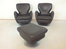 2 Sessel mit Hocker von KOINOR Ledersessel Lederhocker in braun