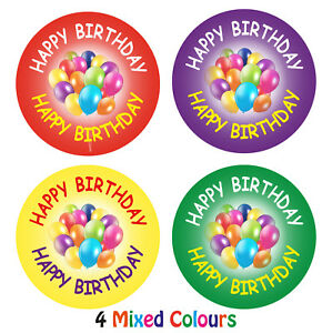 144 x Happy Birthday stickers labels for birthdays parties party bags gifts kids