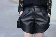 New Alexander Wang High Waisted Black Leather Shorts Size 6