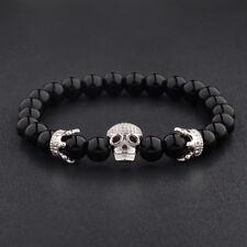 Men Fashion Crown ET Silver Skull Charm Bracelets Natural Agate Bead Bracelets