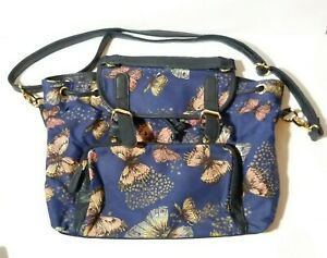Vintage Joe Browns Leather & Canvas Butterfly Pattern Hand Bag Purse