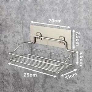 Chrome Shower Caddy Bathroom Wall Hanging Storage Rack Kitchen Shelf Stainless