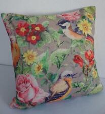 French Country Wrens in Floral Garden Linen Blend Cushion Cover 45cm