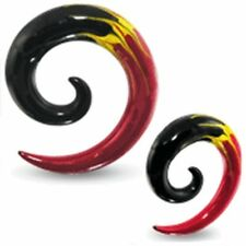 "PAIR-Tapers Spiral Flames Acrylic 12mm/1/2"" Gauge Body Jewelry"