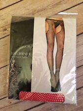 Leg Avenue Red Fishnet Suspender Pantyhose One Size