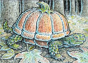 ACEO  Fantasy Original Pumpkin Turtle