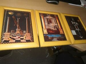 Set of 3 Masonic Tracing Board prints in solid wood  frames. Each 21 x 16cm.