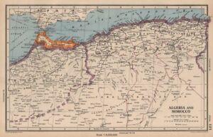 ALGERIA AND MOROCCO. showing Spanish Morocco. BARTHOLOMEW 1944 old vintage map