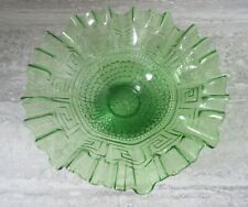 Antique Northwood Green Glass Greek Key Scales Ruffled Pedestal Bowl