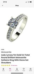 Lady Lynsey Size N 9ct White Gold Round Moissanite Solitaire Ring & Stone Set