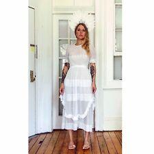 Edwardian Victorian Lace White Wedding Dress Gorgeous Rare Beautiful Xs/s