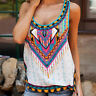 Womens Boho Vest Tank Tops Summer Casual Sleeveless Loose T Shirts Blouse Cami