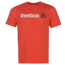 Mens Branded Reebok Short Sleeves Delta Logo Printed T Shirt Crew Top Size S-xxl Red Large