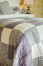 FANTASTIC DOUBLE SIZE GREY PATCHWORK QUILT 100% COTTON  BEDSPREAD SHADES OF GREY