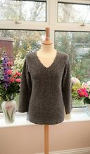 Gorgeous HARLEY OF SCOTLAND grey Merino wool blend super soft jumper size S