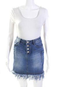 SJYP Womens Denim Fringe High Waist A-Line Short Skirt Blue Size XS