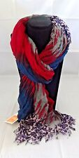 Ombre ruched scarf red blue gray leopard cheetah fringe