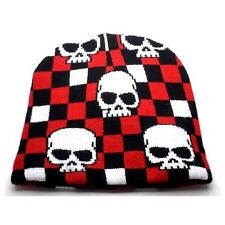 NEW PUNK ROCK WINTER SNOWBOARDING HAT ~ BLACK RED CHECKERS W/ SKULL BEANIE FT305