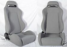 NEW 2 GRAY CLOTH RACING SEATS RECLINABLE + SLIDERS ALL PONTIAC *