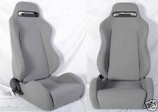 NEW 2 GRAY CLOTH RACING SEATS RECLINABLE + SLIDERS ALL PONTIAC *