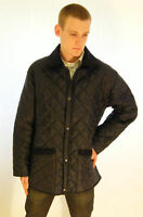 New English Mens Quilted Padded Riding Jacket Coat Navy Blue XS S M L XL XXL