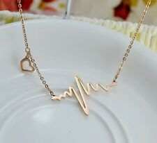 My Heart Beats for Love You 14K Rose Gold Plated Charm Necklace Made in Korea