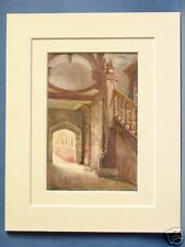 ST. JOHN'S COLLEGE LIBRARY STAIRCASE CAMBRIDGE VINTAGE DOUBLE MOUNTED HASLEHUST