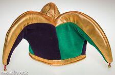 Jester Hat 3 Point Green Purple Gold  Velour & Lame' Mardi Gras Costume Hat