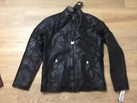 mens XRY jeans faux leather cafe racer jacket coat black medium