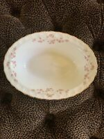 """Pope Gosser China Florence Scalloped Pattern Oval Vegetable Bowl 10""""  Pink Rose"""