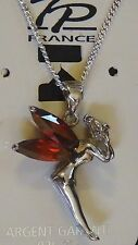 pendentif +chaine argent massif 925/1000 fée clochette tinkerbell ailes grenats