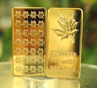 (10) 1/2 oz Troy Ounce Maple Leaf 100 Mills .999 Fine Gold Plated Bullion Bar
