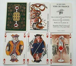 VINTAGE PLAYING CARDS GRIMAUD FRANCE VINS DE FRANCE NON STANDARD 52+2J+H 1997