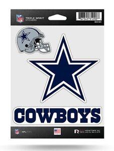 Dallas Cowboys Triple Spirit Sticker Sheet Die Cut Decal New Full Color Logo
