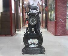 Europe Retro Bronze Porcelain Deer Dragon Flower Statue Mechanical Table Clock