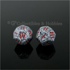 NEW Pair of Roman Numeral D4 12 Sided RPG Game Dice Granite Gray Speckled w Red