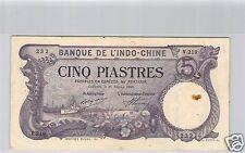 BANK- DES'INDOCHINA SAIGON 5 PIASTER 27 FEBRUAR 1920 V.219 NR. 232 PICK 40