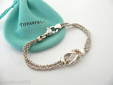 53ac2b904 Tiffany & Co Silver Double Rope Love Knot Bracelet Bangle Rare 7.5 Inch  Classic