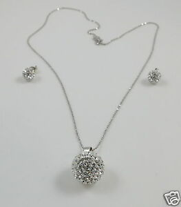 Large Round Crystal Pendant & Sterling Silver Chain and Studs Wedding Set