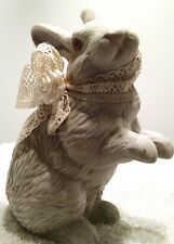 "Vintage Easter Bunny Rabbit With Lace Collar Hand-Painted Ceramic 8"" Tall"