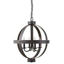 Allen + Roth Crossburg Oil Rubbed Bronze Orb Large Pendant Light 17.75-in W NIB